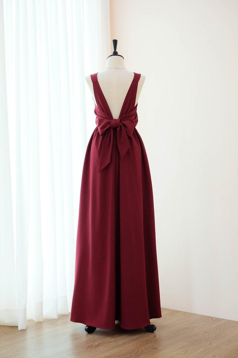 深紅色勃艮第伴娘禮服露背派對雞尾酒禮服