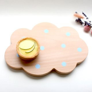 Cloud cotton candy wood dessert tray tray bread plate chopping plate Taiwan limited hand-made