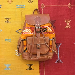 Moroccan orange hand-woven carpet caramel color lambskin backpack national wind accessories