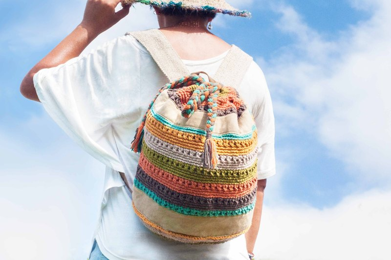 Christmas bag set Valentine's Day gift handmade hand-crafted Boho braid feel backpack / ethnic backpack / backpack / shoulder bag / national mountaineering bag / travel backpack / crocheted backpack / hook bag / striped backpack - summer rainbow colorf