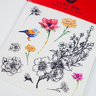 Birdy Garden Sketchy Watercolor Flower Bird Temporary Tattoo Stickers