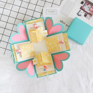 Sweet Home gift box card - colorful Macaron - Tiffany box x two-sided flip Raised version - handmade cards / Valentine's Day cards / Explosion Card / Explosion Box