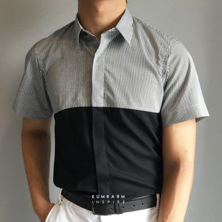 Short-sleeved shirt with black & white striped pattern