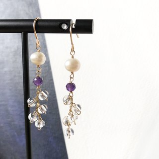 14kgf-white crystal & amethyst pearls earrings