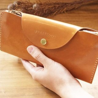 Make-to-order production real leather flap long wallet  long wallet