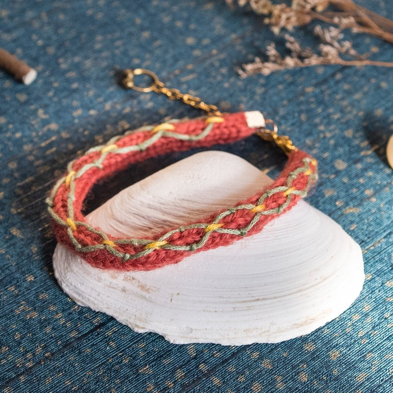 Handmade Red Color Wool Bracelet with embroidery pattern