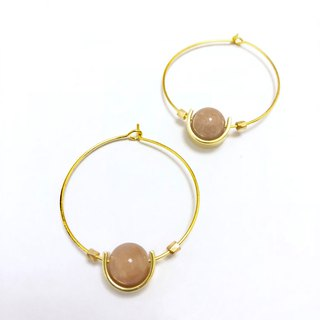 Sunstone Large Circle Earrings