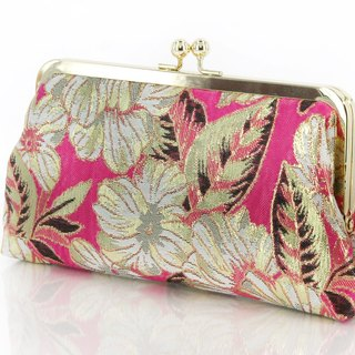Handmade Clutch Bag in Fuchsia | Gift of Baidal, Cocktail, Travel, Honeymoon | Gold Thread Brocade