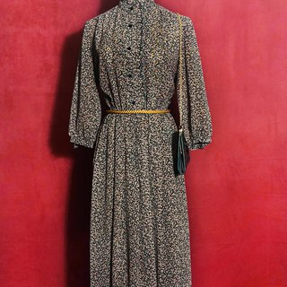 Ruffled flower long-sleeved vintage dress / brought back to VINTAGE abroad