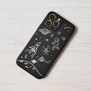 Space shuttle astronaut planet Pattern Black hard Phone Case Cover  for iphone X