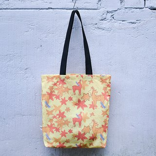 Lightweight Tote Bag_Korea Flower Style_Fresh Yellow Maple Deer