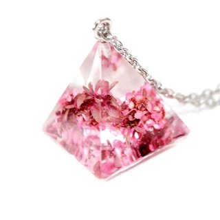 Colour Freak Studio Pink Dried Flower Necklace / Pyramid Triangle pendant / Flower In Ice Series