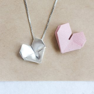 Sterling Silver Origami Heart Necklace