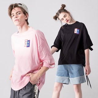 UNISEX LACE UP HEM ROUND NECK T SHIRT / Pink+Black
