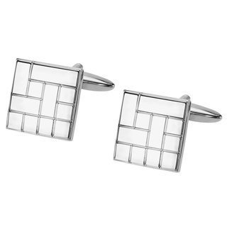 Silver Ectched Pattern Square Cufflinks