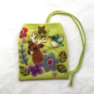 amulet bag of deer and hummingbird