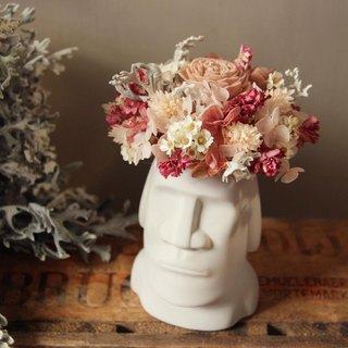 Girl powder Moai small potted flower dry flower eternal flower