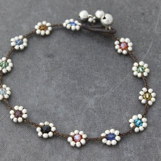 Candy Crystal Daisy Silver Braided Anklets Beaded Glam