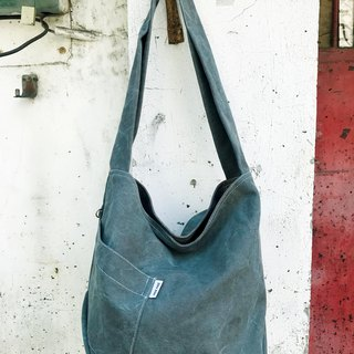Diagonal pocket / canvas bag / side back / ramp / dual / stone wash gray green