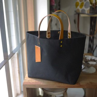 Big Wax Bag - Black Paraffin Canvas Tote Bag