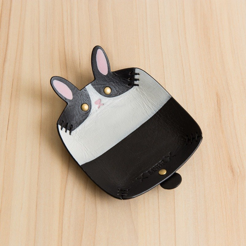 Animal Series - Hand-painted leather small cap / jewelry storage / (Siamese rabbits)