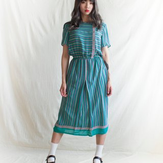 Blue-green line short-sleeved dress