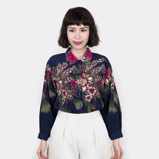 Dark blue vintage retro flower chiffon vintage long sleeve shirt BM4039