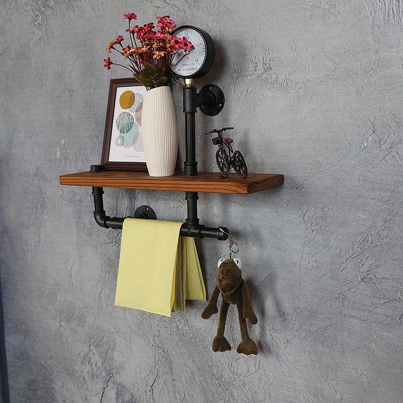 loft工業風書架牆上裝飾置物架實木鐵藝層架耶誕節禮物