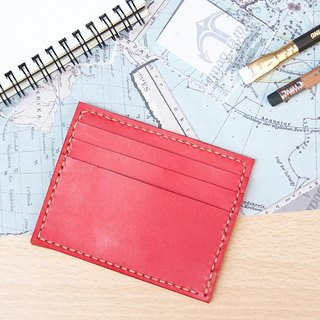 [Brave leather hand made] leather business card holder card set leisure card set wine red free lettering