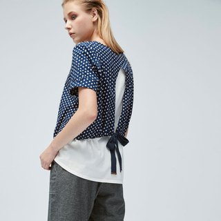 AEVEA Pseudo two-piece Polka dots tie-up shirt