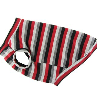 Black Red Gray Striped JERSEY Tank Top, Dog T-shirt, Dog Apparel