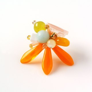 Pink. Bright orange semi-precious stones sword-shaped petal earrings (1 for sale)