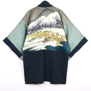 Back to Green Japan Bring Back Male Quilted Hand-Painted Bridge Landscape Vintage kimono