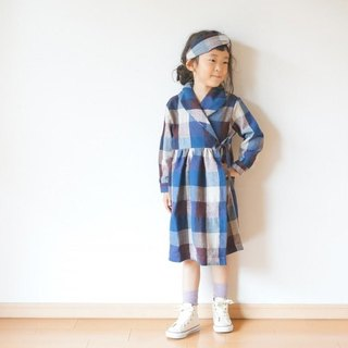 Cotton wool check Gown Coat 90size
