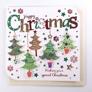 Shiny Colorful Christmas Tree Card [Ling Design TP-Card Christmas Series]