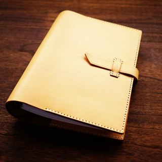 [Le Cuir] handmade leather hand-stitched leather, loose-leaf notebook Notepad / yellow brown buckle paragraph A5