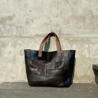 Geometric Tote bales (hand-stitched / full leather)