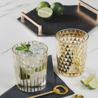 【UK】●2 Gold Patterned Drinking Glasses●  The Just Slate Company