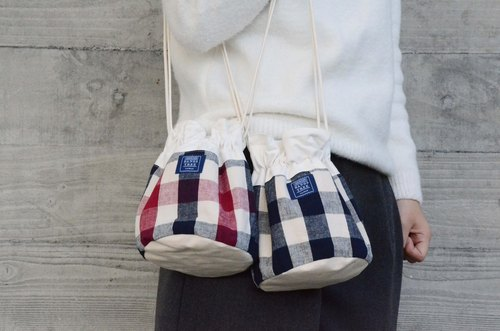 :::Bangstree:: Shoulder Bucket Bag - Cotton plaid