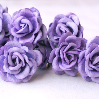 Paper Flower, 25 pieces mulberry rose size 3.5 cm. curve petals, grape (purple)