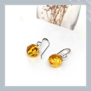 Earrings yellow glass polygon power color for luck as birthdays.