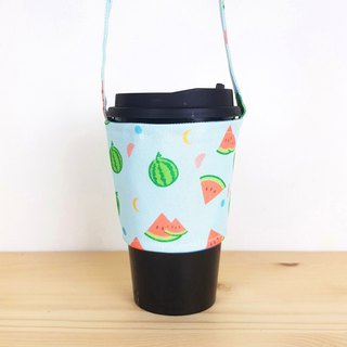 Summer watermelon green cup / beverage bag