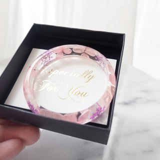 Customized non-flowering hydrangea resin crystal amber bracelet jewelry gift box card pink purple eternal flower