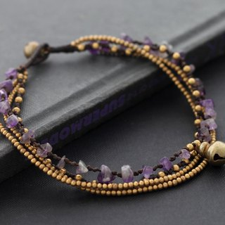 Amethyst Brass Chain Layer Anklet Stone Woven Ankle Bracelets Gypsy