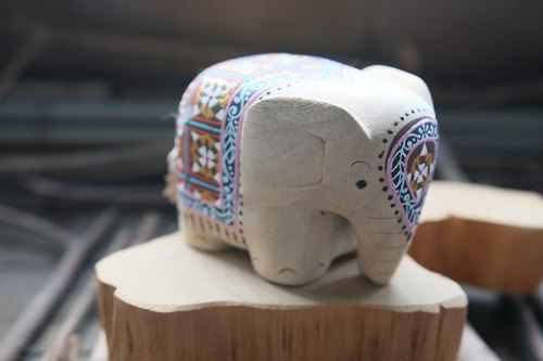 Solid wood painted elephant