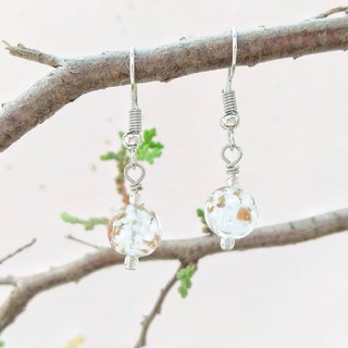 [Limited to Venice series] white clouds Italian imports Venice Murano (Murano) hand gold foil glass beads earrings can change ear clip