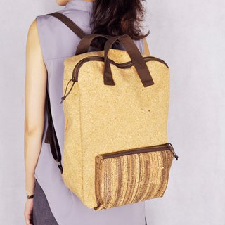 Paralife Cork Woodgrain Backpack/School Bag (embroidery name)
