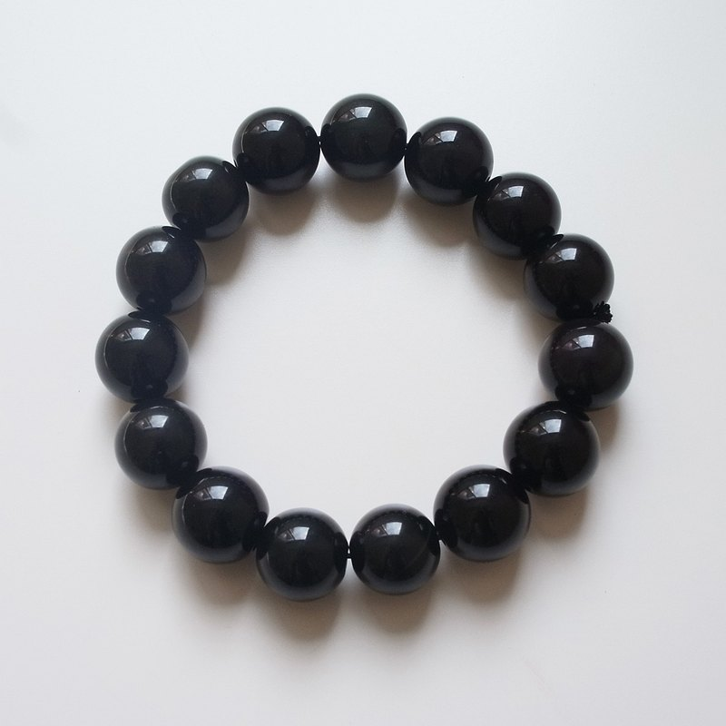 ☽ Qi Xi hand for ☽] [07293-12m obsidian bracelet 12mm