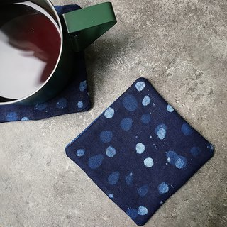 [fasti years old] grass dyed blue dyed Indigo batik coaster 4 Pack