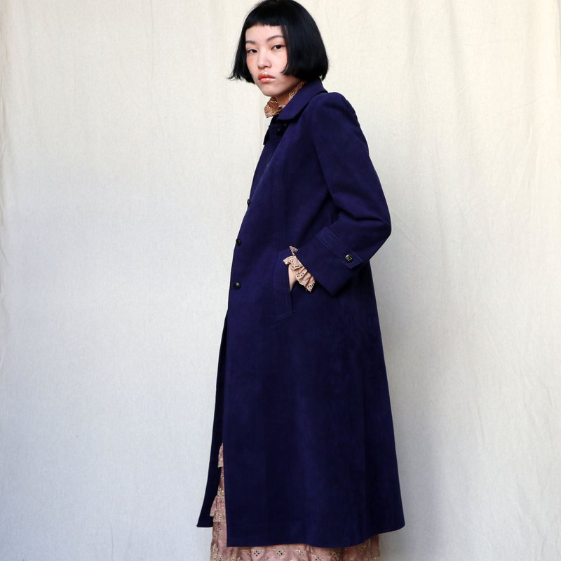 Pumpkin Vintage. Ancient blue and purple suede coat coat